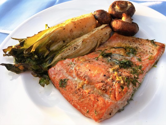 Butter-basted Cedar Plank Salmon with Bok Choy and Mushrooms