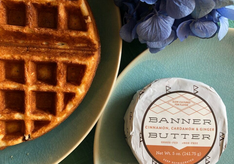 Crispy Waffles with Cinnamon, Cardamom & Ginger Butter